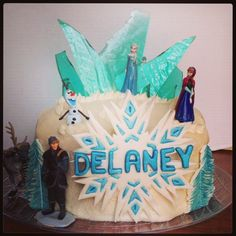 'Frozen' Birthday Cake - With hand poured sugar crystal slabs, hand cut and painted trees and snowflake....