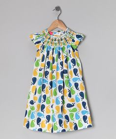 Take a look at this Blue & Green Whale Angel-Sleeve Dress - Infant on zulily today!