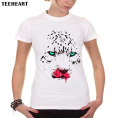 TEEHEART New Women Fashion Latest Brand Cool Animal Design T shirt Novelty Leopard Printed Short Sleeve Tees a103 #Affiliate