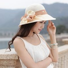 Bow flowers straw hat UV protection sun hats for women Sun Hats For Women, Canvas Bags, Fascinator Hats, Panama Hat, Bows, Womens Fashion, Flowers, Cotton, Shopping