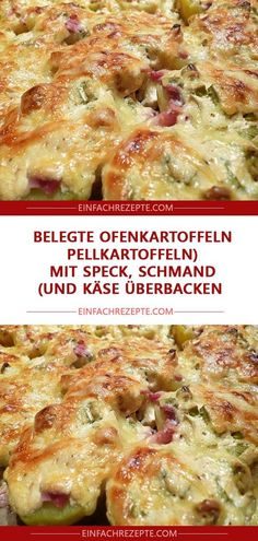 Served baked potatoes (boiled potatoes with bacon, sour cream and .-Belegte Ofenkartoffeln (Pellkartoffeln mit Speck, Schmand und Käse überbacken)… Served baked potatoes (baked potatoes with bacon, sour cream and cheese) 😍 😍 😍 - Vegetable Lasagna Recipes, Vegetarian Recipes, Butter Chicken, Hamburger Meat Dishes, Boiled Ham, Lard, Smoked Bacon, Sausage Recipes, Ratatouille