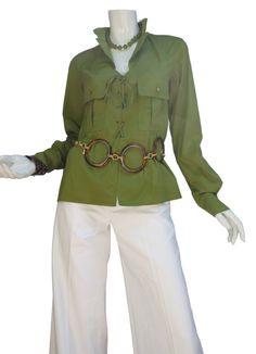 YSL Yves Saint Laurent Moss-Green Safari Shirt by Vintageables
