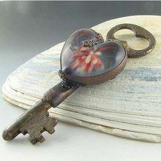 Copper Electroformed Borosilicate Glass Cab on a Vintage Key