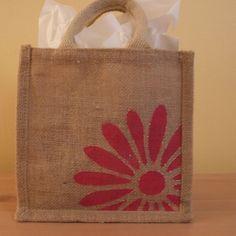 Mini Jute Bag - Daisy - Folksy