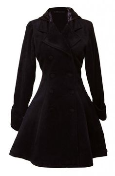 Womens Black Classic Double Breasted Lolita Overcoat