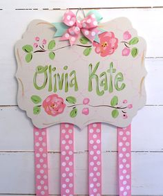 Love this Cream & Coral Personalized Hair Bow Organizer on #zulily! #zulilyfinds