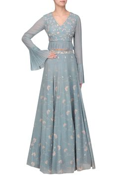 Sana Barreja presents Ice Blue embellished printed lehenga with blouse available only at Pernia's Pop Up Shop. Indian Party Wear, Indian Wear, Indian Attire, Indian Outfits, Indian Frocks, Indian Sarees, Indian Gowns Dresses, Anarkali, Lehenga Choli