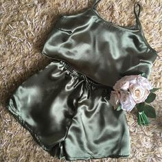 The Eliza Set in Khaki Satin. Crop top and high waisted shorts. Available to be handmade to order. The set can be worn as pyjamas, lounge wear, day/nights out. Very versatile. The khaki green colour is slightly darker in person as it's hard to capture the true colour in the photos. Also available Satin Pyjama Set, Satin Pajamas, Pajama Set, Diy Crop Top, Crop Tops, Fashion Killa, Girl Fashion, Crop Top And High Waisted Shorts, Satin Crop Top