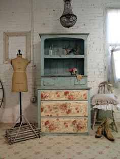 Painted Cottage Chic Shabby Aqua Farmhouse by paintedcottages, $425.00