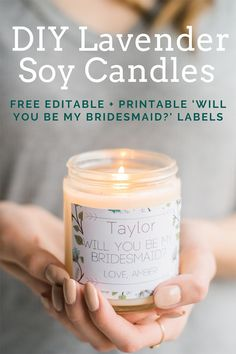 DIY Natural Lavender Soy Candles With Free Printable Labels Handmade Candles, Diy Candles, Candle Labels, Candle Jars, Small Intimate Wedding, Small Weddings, Intimate Weddings, Printable Labels, Free Printable