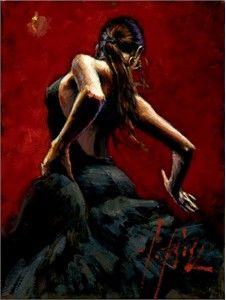 "Fabian Perez Handsigned and Numbered Limited Edition Embellished Giclee on Canvas: ""Dancer in Red Black Dress"" - Fabian Perez"