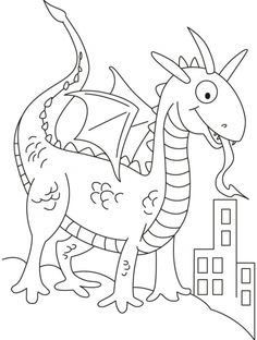 dragon in dinosaurs shape looking for prey coloring pages download free dragon