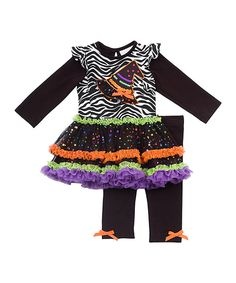 Another great find on #zulily! Black Zebra Ruffle Tutu-Dress & Leggings - Infant by Rare Editions #zulilyfinds