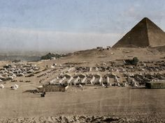 The Australian troop encampment at Mena near Cairo in the early months of 1915.The Australian camp was located at the foot of the Giza pyramids, while the New Zealand camp (Zeitoun) was on the other side of Cairo. The Australian Light Horse camp (Meadi) was across the Nile to the East.  After the convoy crossed the Indian Ocean from Australia and New Zealand the soon to be formed ANZACs (Australian & New Zealand Army Corps) trained in Egypt in preparation for the Western Front.