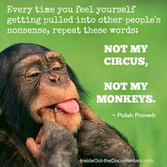Every time you feel yourself getting pulled into other peoples nonsense, repeat these words: not my circus, not my monkeys.