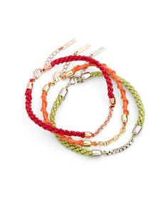 apple green, cherry red, and mandarin orange bracelets symbolize energy, health, and happiness, respectively