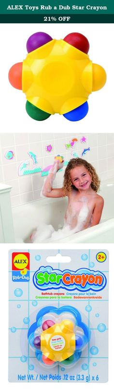 ALEX Toys Rub a Dub Star Crayon. ALEX Toys Rub a Dub Star Crayon features an assortment of colors and is easy to use, but hard to lose! 6 beautifully colored tub crayons are mounted on one chunky holder designed for little hands. A highly creative bath toy; kids can safely color on the bathtub, tiles, and even themselves. Safe and gentle, these bath crayons wash off of skin easily with soap and water and wipe non-porous surfaces! Recommended for children 2 years of age and older.