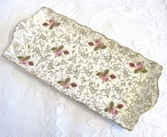 "CIJ Vintage James Kent ""Old Foley"" Sandwich Tray, Pink Roses, Floral Chintz Gilding by TheWhistlingMan on Etsy SOLD"