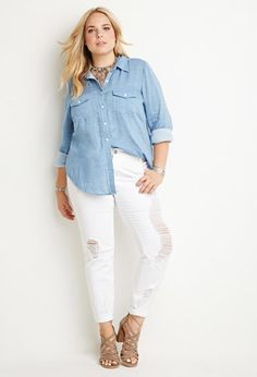Plus Size Classic Chambray Shirt | Forever 21 PLUS - 2000135662