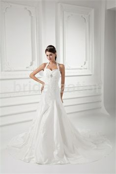 Wonderful Summer A-Line Halter Court Train Taffeta Wedding Dresses