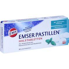 EMSER Pastillen mit Mentholfrische zuckerfrei:   Packungsinhalt: 30 St Lutschtabletten PZN: 11108025 Hersteller: SIEMENS & Co Preis: 2,34…