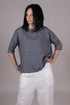 Linen women shirt. Linen women blouse. Linen women top. Round neckline shirt. Linen T-shirt. by Maliposhaclothes on Etsy