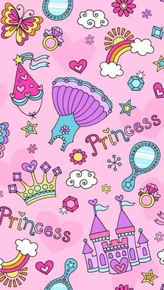 Illustration of Cute princess set with unicorn. Pink Wallpaper Design, Unicornios Wallpaper, Cute Pastel Wallpaper, Cute Wallpaper For Phone, Cute Girl Wallpaper, Kawaii Wallpaper, Cellphone Wallpaper, Galaxy Wallpaper, Pattern Wallpaper
