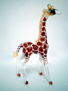 FANCY GIRAFFE ART HAND BLOWN GLASS CRYSTAL FIGURINE