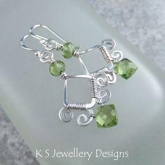 Peridot Swirl Frame Earrings | JewelryLessons.com