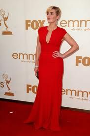 Balance for pear shaped, the most common female shape:Kate Winslet in red evening dress