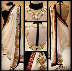 Gorgeous white gold and black modern Saree/ sari Dhoti Saree, Anarkali, Saree Blouse, Lehenga, Saree Gown, Blouse Neck, Indian Look, Indian Ethnic Wear, India Fashion