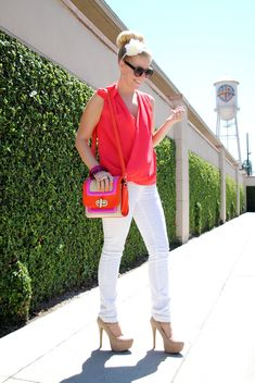 cute summertime outfit {white jeans, neutral platforms and a bold top + purse}
