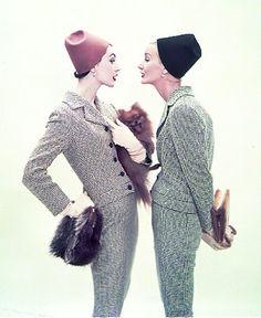 Harper's Bazaar, February 1953. Photo: Richard Avedon. Models: Dovima and Sunny Harnett. Part of the opening credits of Funny Face.