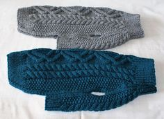 These Aran dog jumpers are hand knitted in Ireland, with acyrlic wool yarn, Machine Washable. Knitted in Kealanine Knot and rope cable pattern.