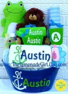 Personalized Baby Shower Gift Basket Set Boy or Girl, Anchor Gift Basket, Baby Shower Gift, Nautical Baby by TheLemonadeGirl, $45.00 by michelle