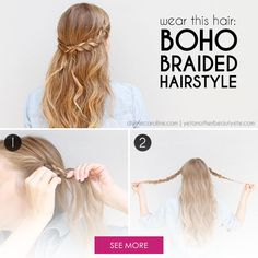 This cute boho braided hairstyle is easy to do in just minutes and perfect for lots of occasions. #hairstyle #divinecaroline