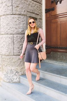 Spring outfit with Mayla Stockholm skirt and Reiss shoes