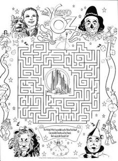 wizard of oz maze colouring pages