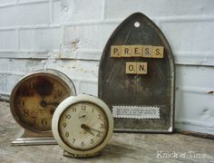 irresistible!   {vintage, clocks, scrabble tiles}