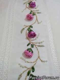 Pretty embroidered combination: Ribbon Roses & Leaves, Silk Embroidery for Stems & Small Leaves and Pearls Emy s gallery silk ribbon embroidery techniques – Artofit This Pin was discovered by Emi Get some > Ribbon Embroidery Flowers Learn how to embroid Ribbon Embroidery Tutorial, Silk Ribbon Embroidery, Hand Embroidery Patterns, Embroidery Kits, Embroidery Stitches, Embroidery Books, Towel Embroidery, Ribbon Art, Ribbon Crafts