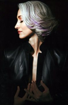 a touch of purple on grey hair
