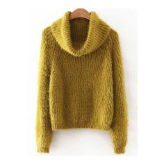 SheIn(sheinside) Green Turtleneck Raglan Sleeve Fluffy sweater ($26) ❤ liked on Polyvore featuring tops, sweaters, green, loose turtleneck sweater, turtleneck sweater, green turtleneck, loose sweaters and long sleeve turtleneck