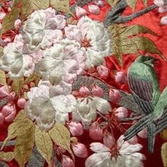 One of a pair of magnificent panels created in the late 1800s, Meiji period. Skillfully worked, entirely by hand, silk embroidery on silk. The design of each panel is a wonderful example of asymmetry, at its best, flowing and harmonious. A natural perfection, at which the Japanese excel. This panel depicts a tumbling mass of Cherry blossom. Home to a small colony of birds.  Stunning Hand Embroidery
