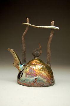 Hand built Raku Teapot  Metallic Copper Gold Pink Blue by Ryan Peters