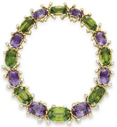 An amethyst, peridot and diamond necklace, by Veronique Cartier. Designed as a graduated alternating series of cushion-cut amethysts and peridot, spaced by sculpted 18k gold twist links, bezel-set with pear-shaped diamond terminals, mounted in gold, circa 1982-1983, 14¾ ins. Signed V.C. for Veronique Cartier.  Via Christie's.