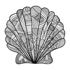 Seashell. Mano dibujada shell - anti estrés para colorear página para adultos con alto detalles aislados sobre fondo blanco, Ilustración estilo zentangle. — Vector de stock