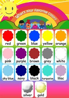 English Activities For Kids, Learning English For Kids, English Lessons For Kids, Kids English, Preschool Learning Activities, Kids Learning, Teaching Kindergarten, Preschool Charts, Preschool Colors