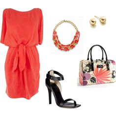 coral tie front dress by iugirl1999 on Polyvore