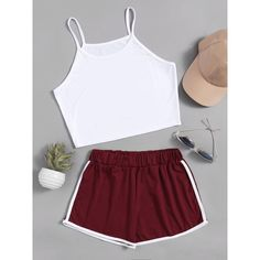 SheIn(sheinside) Crop Cami Top With Contrast Trim Shorts (215 MXN) ❤ liked on Polyvore featuring tops, long-sleeve crop tops, crop tank, cami tank tops, cropped cami and white crop tank