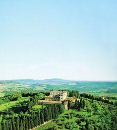 The newly restored Castello di Casole, a former 10th-century villa estate now turned luxury hotel.